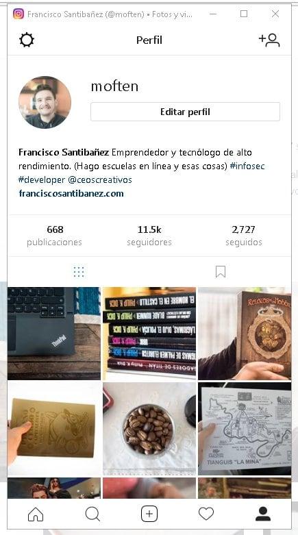 subir fotos a instagram desde el pc